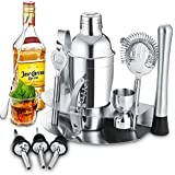 Gomyhom Cocktail Shaker Set di 12 Pezzi, Kit da Barman in Acciaio Inox, 550milliliter Shaker con Accessori, Set di Strumenti Bar Jigger Bar Spoon