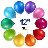 RAINBEAN Los Globos Decorativos de la Fiesta, Látex Potente, 12 Pulgadas de Arco Iris (100 por Paquete), para el Uso de Helio o de Aire, La Seguridad es ...