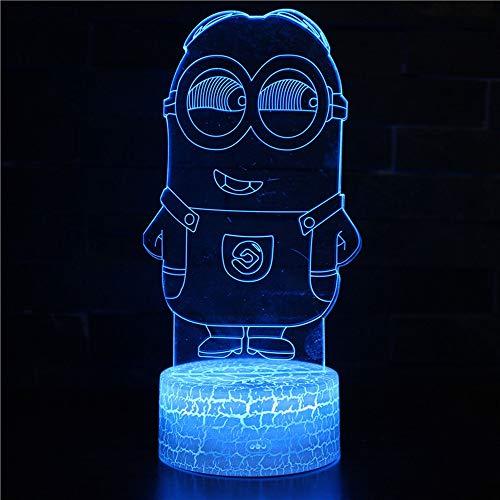 ampe,Led Nachtlicht 7 Farben Berührungs Fernbedienung Schalter Nachttischlampe Kinder Weihnachts Geschenk Nachtlampe Schreibtischlampe Acryl Minions ()