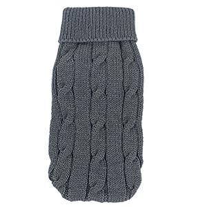 Sourcingmap Twisted Tricot à col roulé Hiver Chaud Apparel Pull pour Animal Domestique, 2x -Small, Gris