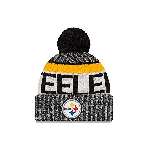 New Era NFL17 Sport Knit Bommelmütze Pittsburgh Steelers Schwarz, Size:ONE Size -
