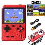 ETPARK Consoles De Jeux Portable, Console de Jeu Retro FC, Console de Jeu vidéo pour système de Divertissement, 2.8 Pouces 400 Classique Jeux, Chargement USB, Grand Cadeau pour Les Enfants (Rouge)