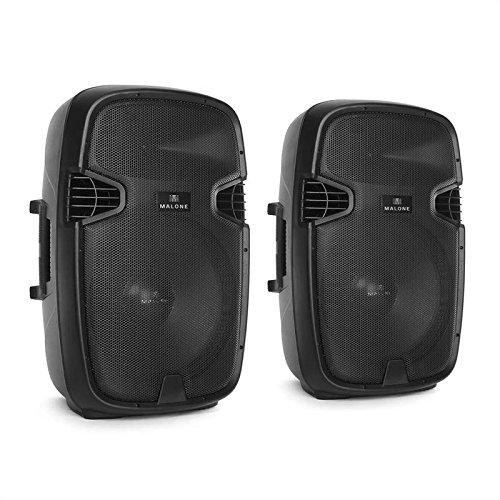 2.0 Malone PA-Aktivbox Set 2 x Monitorlautsprecher 15 Zoll Aktiv-Box PA Lautsprecher Paar (2 x 360 Watt RMS, 2 x 38cm Subwoofer, 2-Wege, XLR- und Klinke-Mikrofoneingang, 96dB) schwarz (Mobile Box Standard-höhe)