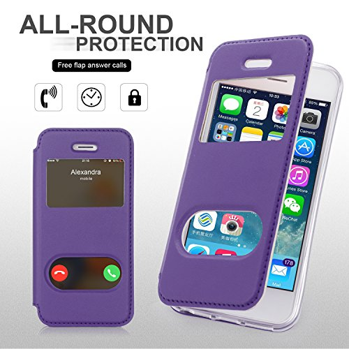 Coque iPhone SE, Coque iPhone 5S, Coque iPhone 5, Fyy® [Rose Or] Étui en cuir PU de première qualité avec Coverture Toute-Puissante pour Apple iPhone SE/5S/5 Bleu Foncé A-Violet