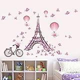 LianLe 45 * 60cm Wall Sticker Adesivo da Parete Torre Eiffel Farfalla Rosa Rimovibile Murale per Soggiorno Stanza dei Bambini Camera da Letto