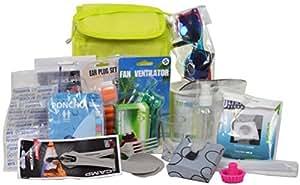 CHICCIE Festival Kit – 16 Teilig – Geschenkset Camping Survival Sonnenbrille Taschenlampe Nackenkisten Ventilator Poncho Schnapsglas etc.