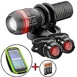 Zizz 24-7 Fahrrad Beleuchtungsset mit Lenkertasche ultrahelles LED-Licht mit 180 Grad Sichtbarkeit für Helm, wasserdichte Smartphone-Tasche Fahrradlicht für Mountainbikes Straßenfahrrad