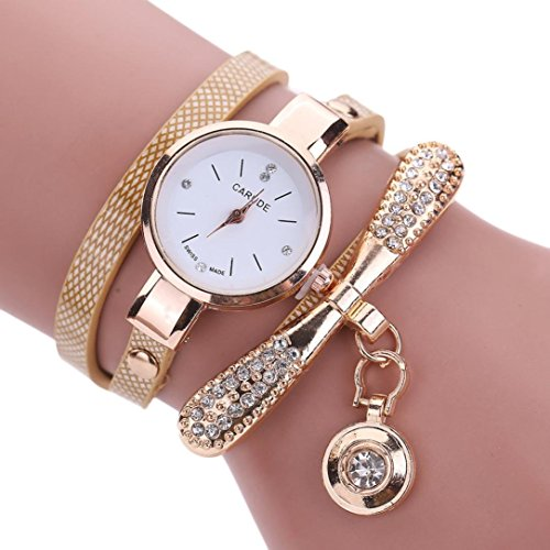 Clode®Fashion Womens Leather Rhinestone Analog Quartz Wrist Watches (Beige )