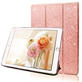 FANSONG iPad 9.7 2018/2017 Case, Bling Glitter PU Leather Magnetic Flip Trifold St