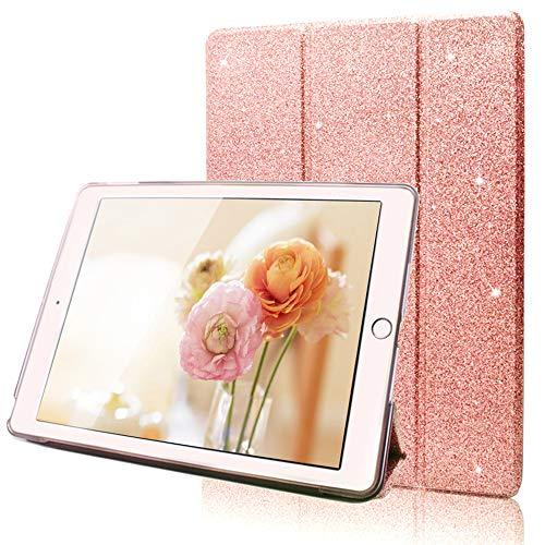 Custodia Nuovo iPad 2018 9.7 pollici, FANSONG Magnetico Trifold Sottile Glitter Pelle con Support Kickstand Auto Sveglia/Sonno Protettiva Cover per Apple iPad Air 1 2/New iPad 9,7 2017/2018, Rosa Oro