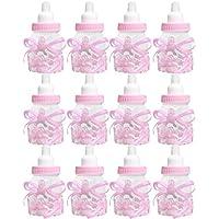 12 Piezas alimentador Estilo de la Botella de Caramelo Caja de Regalo de la Ducha de bebé favores Partido Regalo Caja de Caramelo Set (Color Rosa)