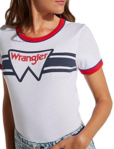 Wrangler Women's Ringer Women's White Regular Fit T-Shirt 100% Cotton White
