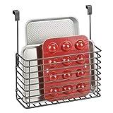 MetroDecor mDesign Küchenregal zum Hängen – praktischer Ordnungshelfer für die Küche – Küchenablage für über die Schranktür zur Aufbewahrung von Schneidebrettern und Kochbüchern – grau