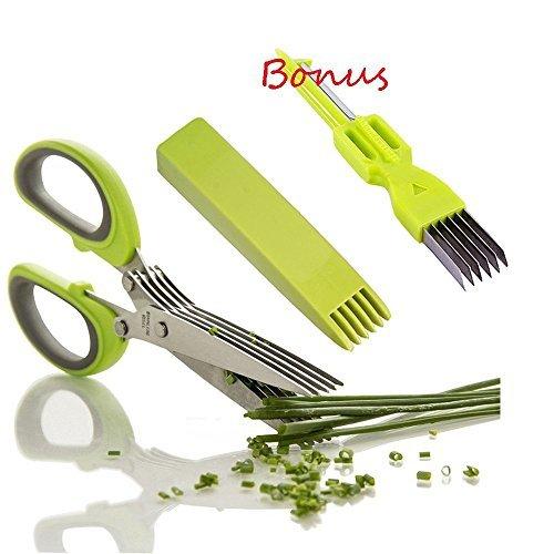 enschere Edelstahl Scissors Herb mit 5 Klingen,Kräuter Schere Cutter Klinge Multi Scheren mit Reinigung Kamm ()