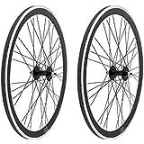 2x Llanta Rueda para Bicicleta Fixed Fixied de 700 Aluminio CNC MECANIZADO CON RODAMIENTOS Color NEGRO 3750