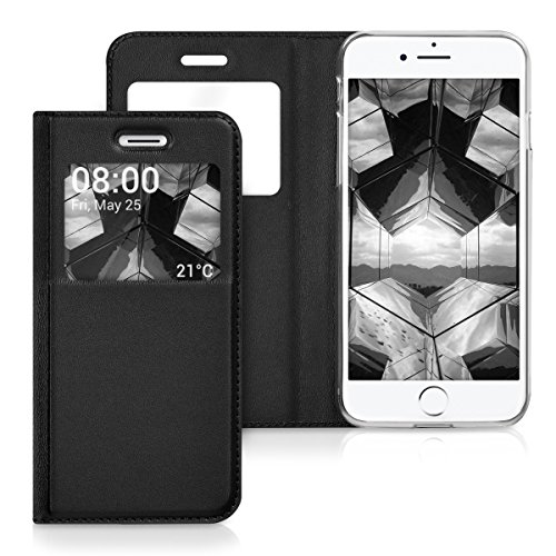 kwmobile Cover per Apple iPhone 7 / 8 - Custodia magnetica con apertura a libro e finestra di visualizzazione in pelle sintetica - Flip case oro .nero