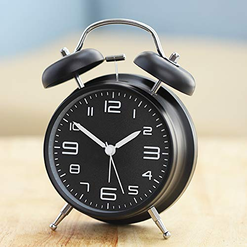 DLTLR Metal Creative Small Alarm Clock Silence Alarm Clock Large Bell Voice Belt Night Light Co Voice Alarm