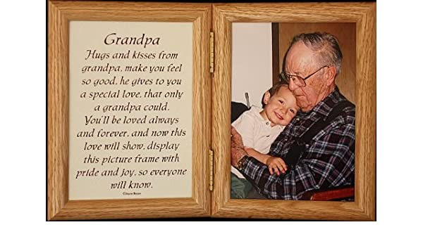 5x7 Hinged GRANDPA Poem Oak Picture Photo Frame A Wonderful Gift Idea For Grandpa Grandparent Valentines Day Birthday Or Christmas