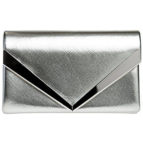 6c8c65f3b3 CASPAR TA368 Donna Pochette a Busta con Decorazione in Metallo e Catena,  Colore:argento