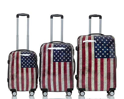 Polycarbonat Hartschale Koffer 2060 Trolley Reisekoffer Reisekofferset Beutycase 3er oder 4er Set in 12 Motiven (USA(3er Set))