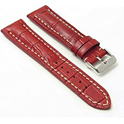 DASSARI Concord Red Croc Leather watch Band for BREITLING 24/22 24mm