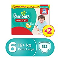 ‏‪Pampers Pants Diapers, Size 6, Extra Large, >16kg, Double Mega Box, 152 Count‬‏