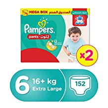 Pampers Pants Diapers, Size 6, Extra Large, >16kg, Double Mega Box, 152 Count