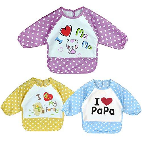 Baby Lätzchen mit Ärmeln, wasserdicht Set von 3 Unisex Baby wasserdicht langärmelige Lätzchen für monatiger Säuglingen, 3-jährige Kleinkinder (unter 20 kg) (Kleider Für Kleinkinder Unter $20)