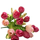 MOSE Home Decor Hot 1 Bunch of 15 Heads Unusual Artificial Rose Silk Fake Flowers Leaf Bridal Bouquet Modern Room Decor Free Size Hot Pink