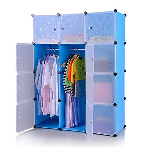 HENGMEI DIY Kleiderschrank Garderobenschrank Steckregalsystem Regalsystem 12 -Kubus Ordnungssystem Schuhschrank Kleiderschrank mit Tür (Blau) -