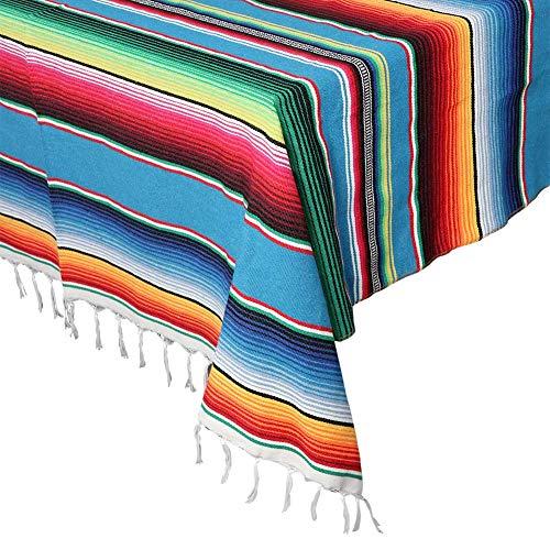 Aparty4u mexikanische Serape-Decke, Tischdecken, 150 x 213,4 cm, große handgewebte Tischdecke, Baumwollquaste, Tischdecke für mexikanische Party, Hochzeit, Outdoor, Dekoration, Blau (Vorhänge Mexikanische Decke)
