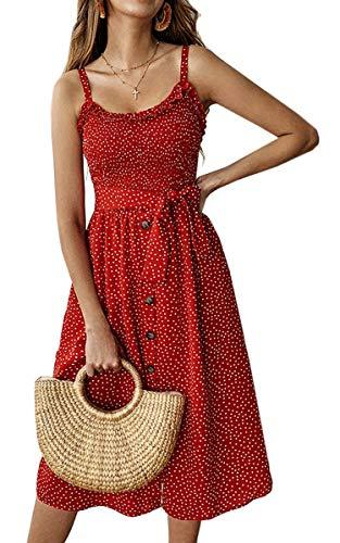 Angashion Damen Sommerkleid Swing Blumenkleid Verstellbarer Spaghettiträger Strandkleid A-line Partykleid mit Gürtel Tasche 014 Rot S