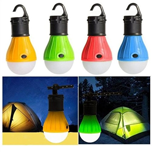 Diadia Portable Emergency Camping Tent Soft Light Outdoor Hanging SOS 3 LED Bulb Fishing Lantern Hiking Energy Saving Lamp-Working Modes:All High / Half High/ SOS (Blue)