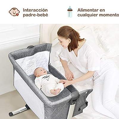 COSTWAY 2 en 1 Cuna para Bebé Plegable Cuna de Colecho Altura Ajustable Bebé Cama para Viaje Hogar Dormitorio