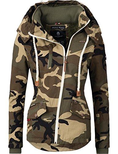 Navahoo Damen Outdoorjacke Übergangs Jacke Rehauge (vegan hergestellt) Camouflage Gr. L