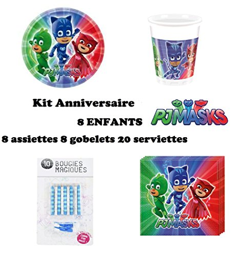 Kit PJ MASKS pyjamasques 36 pièces Anniversaire Fête 8 enfants (8 gobelets, 8 assiettes et 20 serviettes) 10 bougies offertes