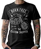 NG articlezz Hombre Moto Camiseta T-Shirt Biker Custom Chopper S-5XL - Negro/Negro, 3XL
