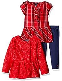 Nautica Baby Girls' Fleece Jacket, Woven Shirt and Legging