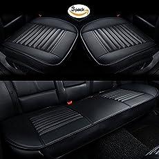 HCMAX Vier Jahreszeiten Atmungsaktiv Car Interior Sitzkissen Abdeckung Pad Matte PU-Leder Bambus-Kohle - 2+1 Vorder und Rücksitzbezüge