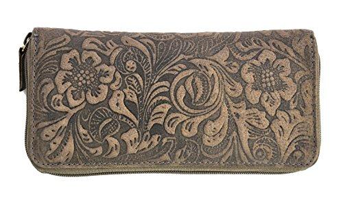feminine Damen Reißverschluss Geldbörse lang, ölgeprägtes Vollrindleder Jockey Club florale Motive, Ranken und Blüten -