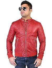 Bareskin men's red color rib type genuine leather jacket
