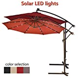 CASART 3m LED Light Umbrella Solar Patio Banana Cantilever Hanging Sun Shade Parasol