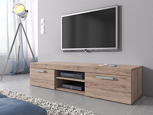 Tv mobile tv porta mobili supporto mambo, in rovere chiaro (sonoma), 160 cm
