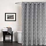 Weare Home Grau Modern Duschvorhang Duschvorhänge mit Weiß Karo Mutern aus Polyester Wasserdicht und Anti-Schimmel mit 12 Plastik Ringe für Badewanne Dusche Badezimmer, 180×180cm