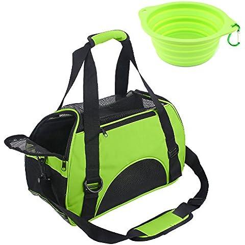 wangstar Portador del animal doméstico, de lados suaves viaje del animal doméstico del Duffle Bags, con recipiente para perros plegable (verde)