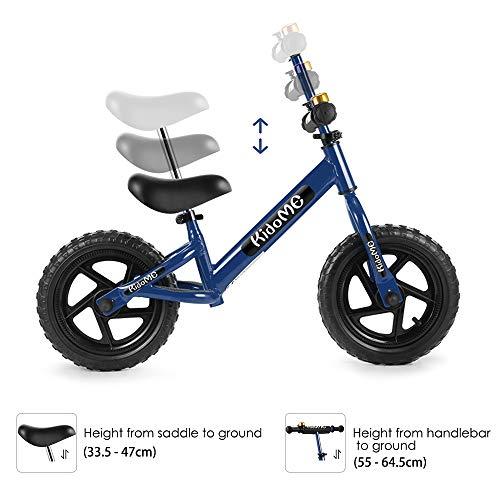 """KidoMe 12"""" Bicicletta da Equilibrio Blu Prima Bici Senza Pedale Regalo per Bambini Acciaio al Carbonio Pneumatici Senza necessità di gonfiarsi Sella e Manubrio Regolabile 2, 3, 4 ,5 e 6 Anni - 2"""