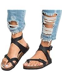 dcd40f21c Mujer Sandalias Planas Verano Tobillo Correa Hebilla Zapatillas Plataforma  Zapatos Plano Cómodos Negro Marrón ...