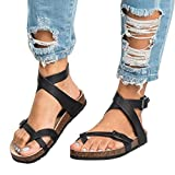 Mujer Sandalias Planas Verano Tobillo Correa Hebilla Zapatillas Plataforma Zapatos Plano Cómodos Negro Marrón Beige 35-44 BK39