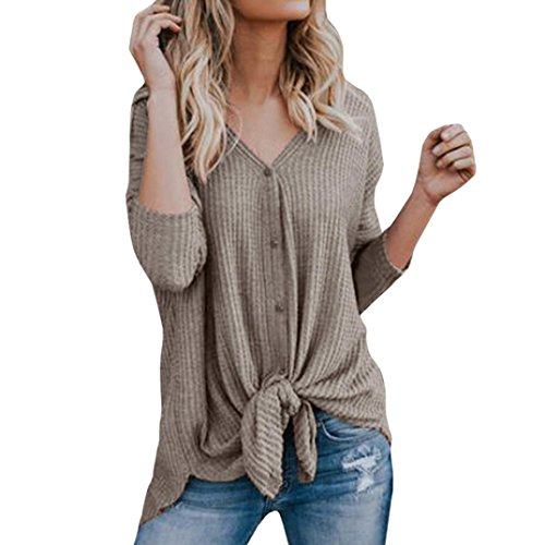 ESAILQ Damen T-Shirt Ladies Extended Shoulder Tee, Baumwollshirt mit Turn-up Ärmeln(M,Khaki)