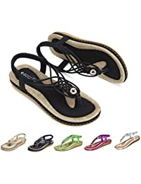 72c945ed70 gracosy Sandalias Planas Verano Mujer Estilo Bohemia Zapatos de Dedo  Sandalias Talla Grande Cinta Elástica Casuales